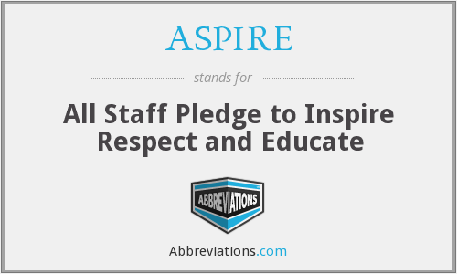 ASPIRE - All Staff Pledge to Inspire Respect and Educate