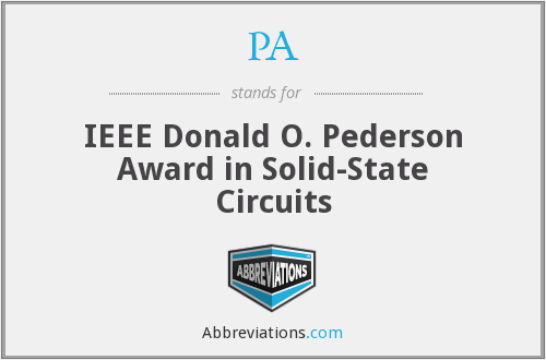PA - IEEE Donald O. Pederson Award in Solid-State Circuits