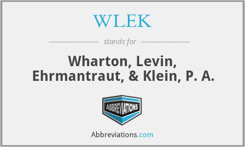 WLEK - Wharton, Levin, Ehrmantraut, & Klein, P. A.