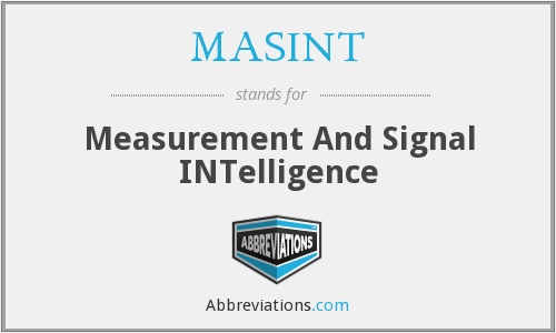 MASINT - Measurement And Signal INTelligence