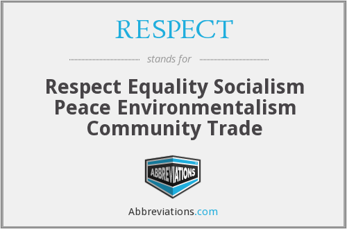 RESPECT - Respect Equality Socialism Peace Environmentalism Community Trade