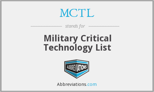 MCTL - Military Critical Technology List