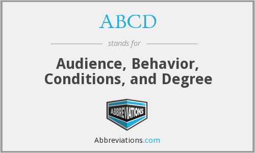 ABCD - Audience, Behavior, Conditions, and Degree