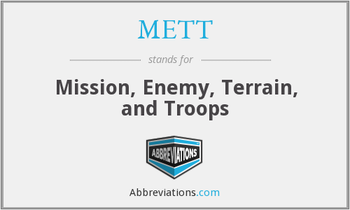 METT - Mission, Enemy, Terrain, and Troops