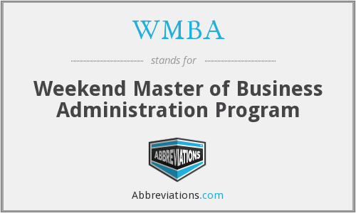 WMBA - Weekend Master of Business Administration Program