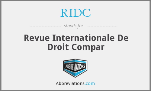 RIDC - Revue Internationale De Droit Compar