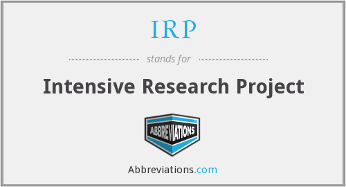 IRP - Intensive Research Project