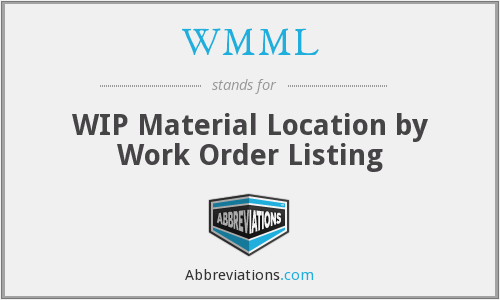 WMML - WIP Material Location by Work Order Listing