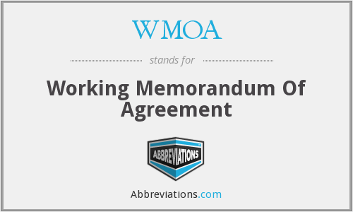 WMOA - Working Memorandum Of Agreement