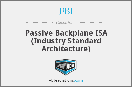 PBI - Passive Backplane ISA (Industry Standard Architecture)