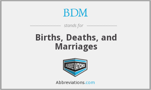 BDM - Births, Deaths, and Marriages