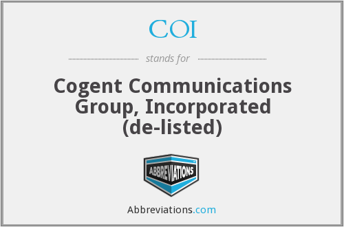 COI - Cogent Communications Group, Incorporated (de-listed)