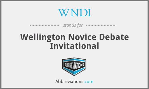 WNDI - Wellington Novice Debate Invitational
