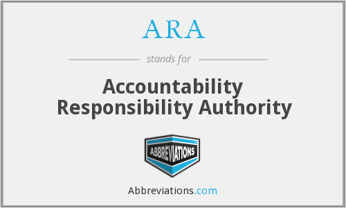 ARA - Accountability Responsibility Authority