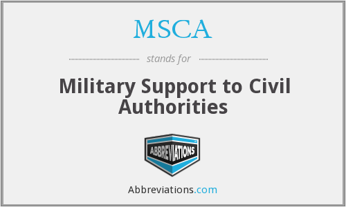 MSCA - Military Support to Civil Authorities
