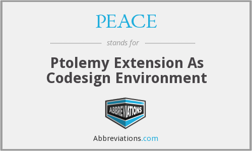 PEACE - Ptolemy Extension As Codesign Environment