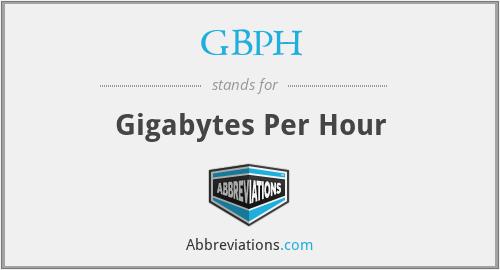 GBPH - Gigabytes Per Hour