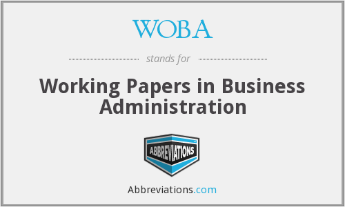 WOBA - Working Papers in Business Administration
