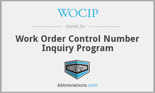 WOCIP - Work Order Control Number Inquiry Program