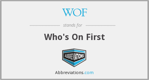 WOF - Who's On First