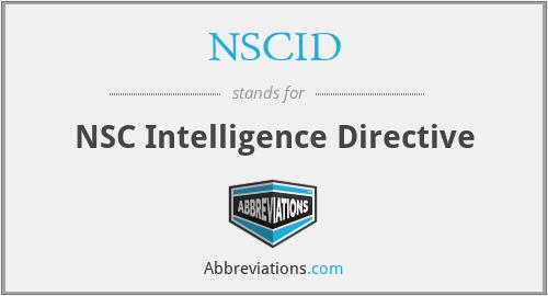 NSCID - NSC Intelligence Directive