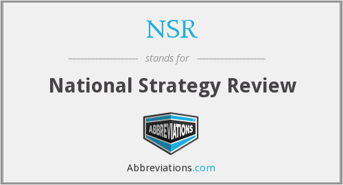 NSR - National Strategy Review