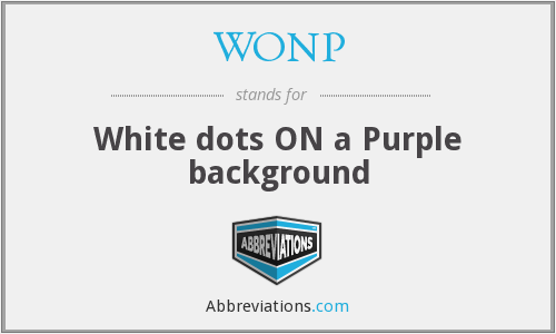 WONP - White dots ON a Purple background