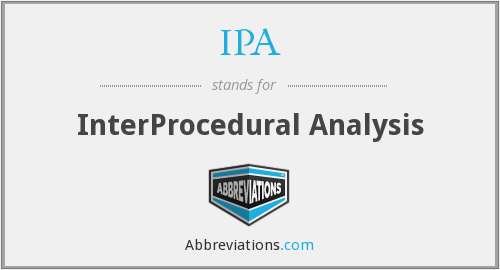 IPA - InterProcedural Analysis