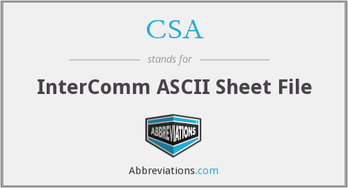 CSA - InterComm ASCII Sheet File