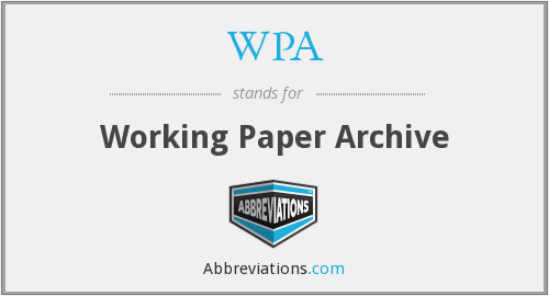 WPA - Working Paper Archive