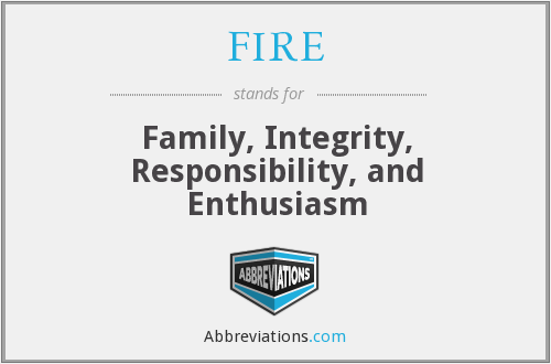 FIRE - Family, Integrity, Responsibility, and Enthusiasm