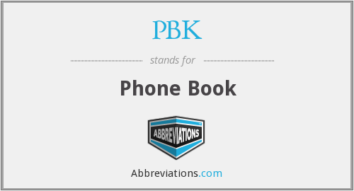 PBK - Phone Book