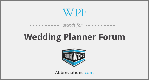 WPF - Wedding Planner Forum