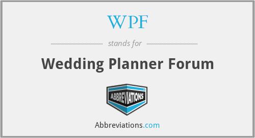 WPF - Wedding Planner Forum