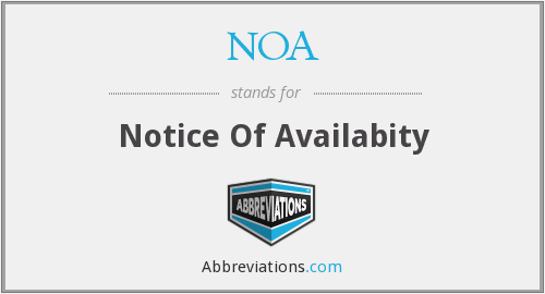NOA - Notice Of Availabity