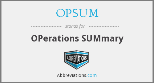 What does OPSUM stand for?