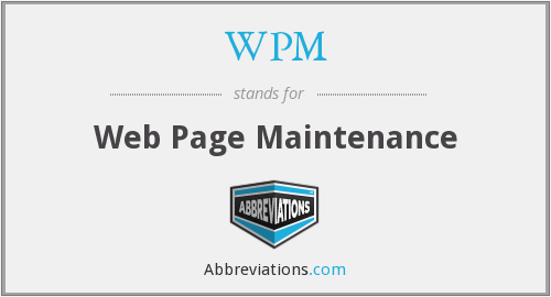 WPM - Web Page Maintenance