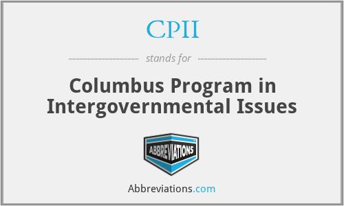 CPII - Columbus Program in Intergovernmental Issues