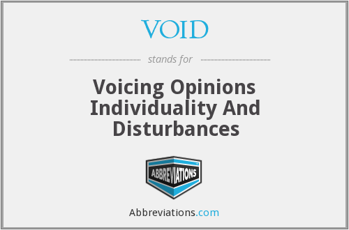 VOID - Voicing Opinions Individuality And Disturbances