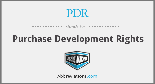 PDR - Purchase Development Rights