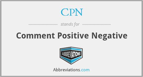 CPN - Comment Positive Negative