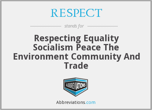 RESPECT - Respecting Equality Socialism Peace The Environment Community And Trade