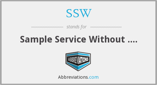 SSW - Sample Service Without ....