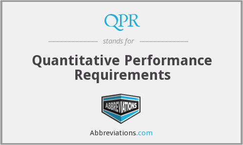 QPR - Quantitative Performance Requirements