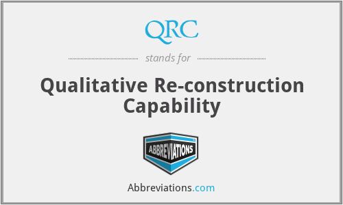 QRC - Qualitative Re-construction Capability