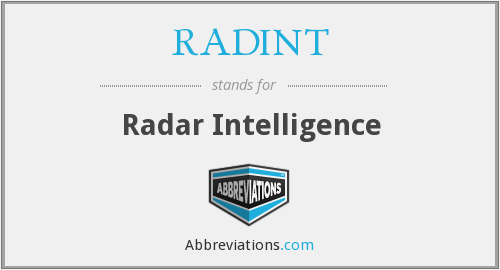 RADINT - Radar Intelligence