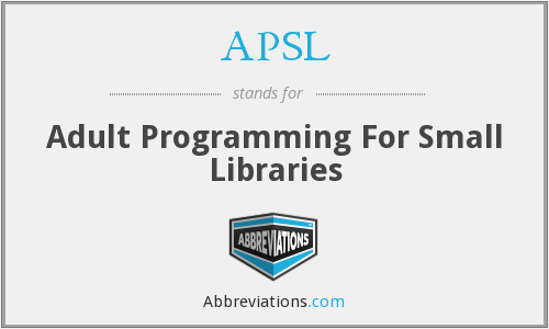 APSL - Adult Programming For Small Libraries