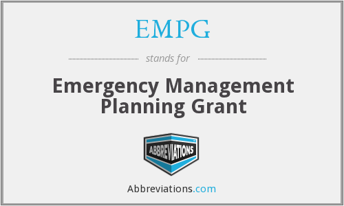 EMPG - Emergency Management Planning Grant