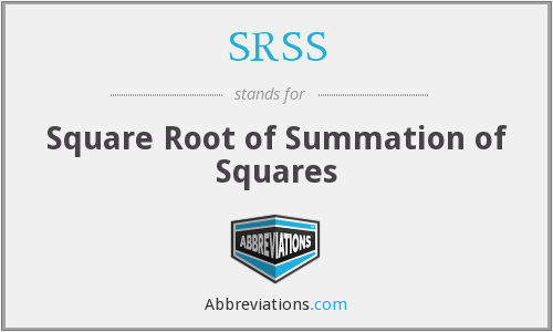 SRSS - Square Root Of Summation Of Squares