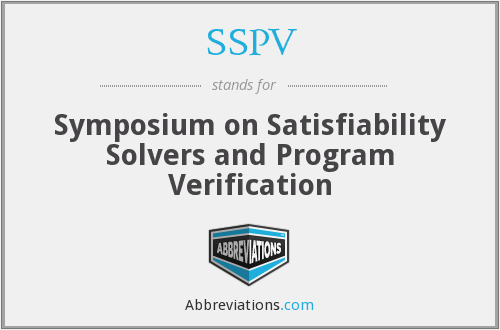 SSPV - Symposium on Satisfiability Solvers and Program Verification